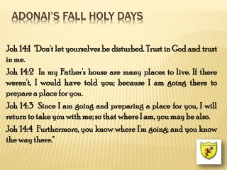 Adonai's Fall Holy Days