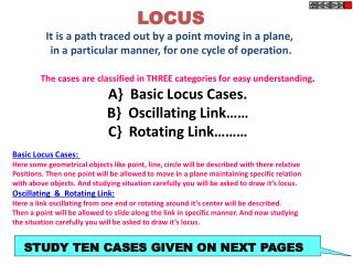 LOCUS It is a path traced out by a point moving in a plane,
