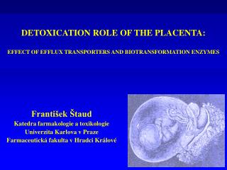 DETOXICATION ROLE OF THE PLACENTA:  EFFECT OF EFFLUX TRANSPORTERS AND BIOTRANSFORMATION ENZYMES