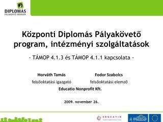 Központi Diplomás Pályakövető program, intézményi szolgáltatások