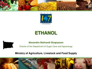 ETHANOL  Alexandre Betinardi Strapasson Director of the Department of Sugar Cane and Agroenergy