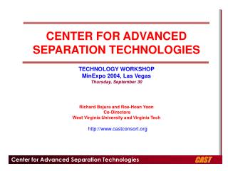 CENTER FOR ADVANCED SEPARATION TECHNOLOGIES  TECHNOLOGY WORKSHOP MinExpo 2004, Las Vegas Thursday, September 30      Ric