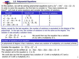 Equation                       Solution set