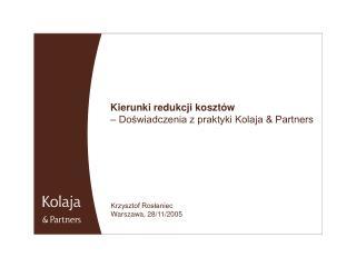 Kierunki redukcji kosztów  – Doświadczenia z praktyki Kolaja & Partners