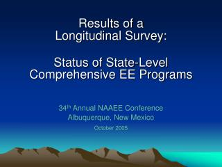 Results of a Longitudinal Survey: Status of State-Level  Comprehensive EE Programs