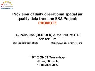 Provision of daily operational spatial air quality data from the ESA Project:  PROMOTE