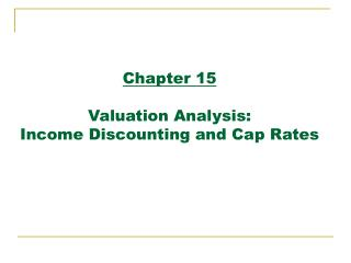 Chapter 15   Valuation Analysis:  Income Discounting and Cap Rates