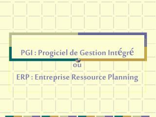 PGI : Progiciel de Gestion Int gr  ou ERP : Entreprise Ressource Planning