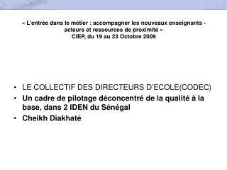 LE COLLECTIF DES DIRECTEURS D'ECOLE(CODEC)