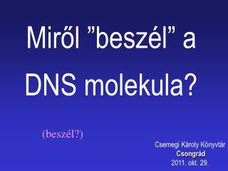 """Miről """" beszél """" a DNSmolekula?"""