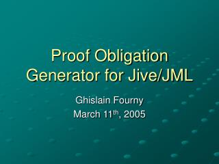 Proof Obligation Generator for Jive/JML