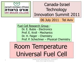 Fuel Cell Research Group  : Dr. E. Bubis - Electronics Prof. E. Kroll - Mechanics