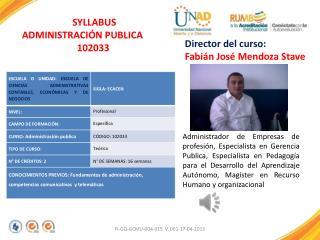 SYLLABUS ADMINISTRACIÓN PUBLICA 102033