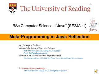 "BSc Computer Science - ""Java"" (SE2JA11) Meta-Programming in Java: Reflection"