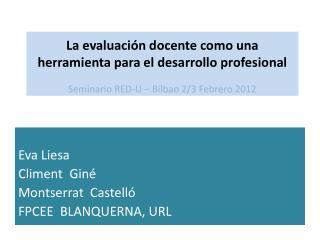 Eva Liesa  Climent  Giné Montserrat  Castelló FPCEE  BLANQUERNA, URL