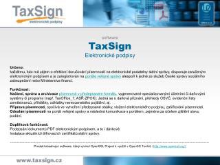 software  TaxSign Elektronické podpisy