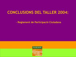 CONCLUSIONS DEL TALLER 2004: