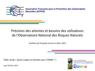 Association Française pour la Prévention des Catastrophes Naturelles (AFPCN)