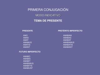PRIMERA CONJUGACI N  MODO INDICATIVO  TEMA DE PRESENTE