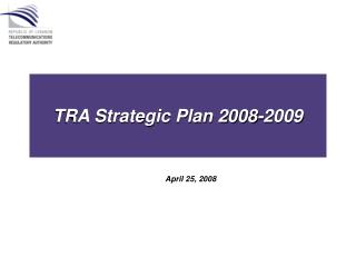 TRA Strategic Plan 2008-2009