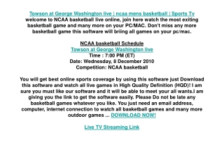 Towson at George Washington live | ncaa mens basketball | Sp