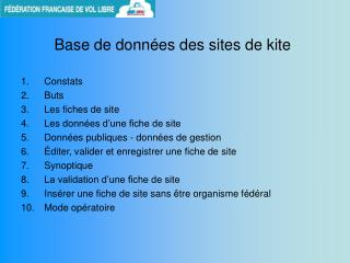 Base de donn�es des sites de kite