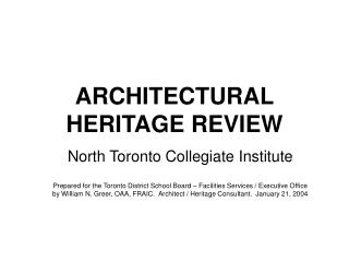 ARCHITECTURAL  HERITAGE REVIEW