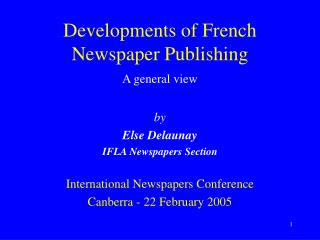 Developments of French Newspaper Publishing