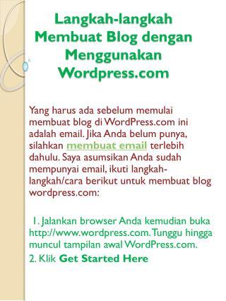 Langkah-langkah Membuat  Blog  dengan Menggunakan  Wordpress