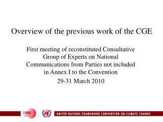 Overview of the previous work of the CGE