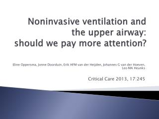 Noninvasive ventilation and the upper airway: should we pay more attention?