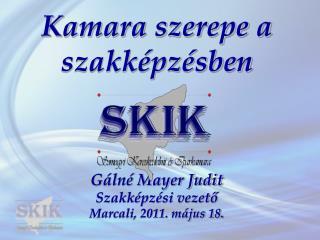 Kamara szerepe a szakképzésben Gálné Mayer Judit  Szakképzési vezető Marcali, 2011. május 18.