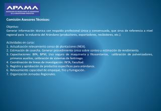 Comisi�n  Asesores T�cnicos: Objetivo: