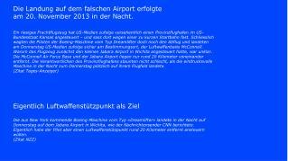 Die Landung auf dem falschen Airport erfolgte am 20. November 2013 in der Nacht.