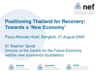 Positioning Thailand for Recovery: Towards a 'New Economy'