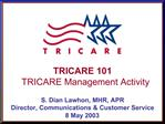 TRICARE 101 TRICARE Management Activity