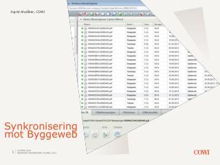 Synkronisering mot  Byggeweb