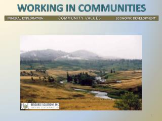 WORKING IN COMMUNITIES