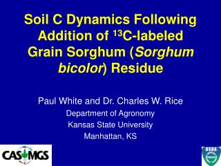 Soil C Dynamics Following Addition of  13 C-labeled Grain Sorghum ( Sorghum bicolor ) Residue