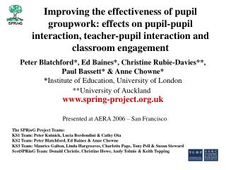 Improving the effectiveness of pupil groupwork: effects on pupil-pupil interaction, teacher-pupil interaction and classr
