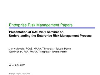 Enterprise Risk Management Papers