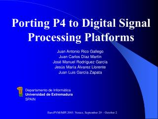 Porting P4 to Digital Signal Processing Platforms
