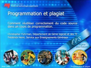 Programmation et plagiat