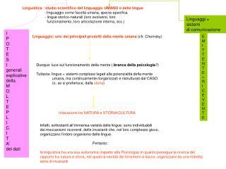Linguistica  :  studio scientifico del linguaggio UMANO e delle lingue
