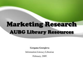 Marketing Research AUBG Library Resources