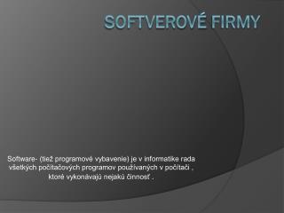 Softverové  firmy