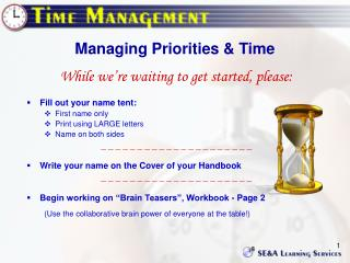 Managing Priorities & Time