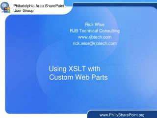 Using XSLT with  Custom Web Parts
