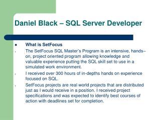 Daniel Black – SQL Server Developer