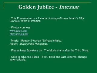 Golden Jubilee -  Intezaar